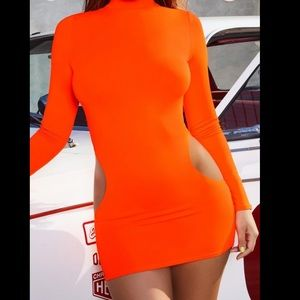 Long Sleeve Mini Cut Out Dress